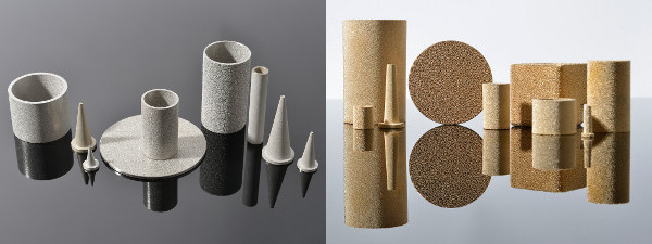 Matériaux en inox et bronze fritte
